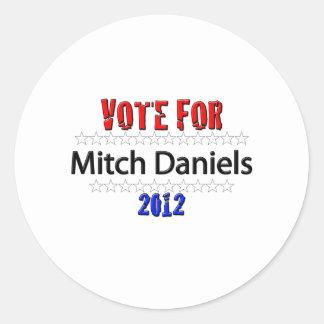 Vote for Mitch Daniels in 2012 Classic Round Sticker