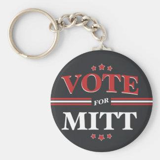 Vote For Mitt Romney Round (Black) Keychains