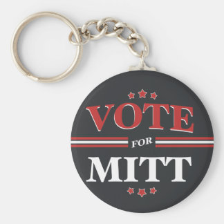 Vote For Mitt Romney Round (Black) Key Chains