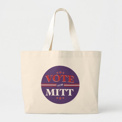 Vote For Mitt Romney Round (Purple) Canvas Bags