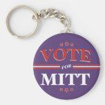 Vote For Mitt Romney Round (Purple) Keychains