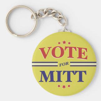 Vote For Mitt Romney Round (Yellow) Basic Round Button Keychain