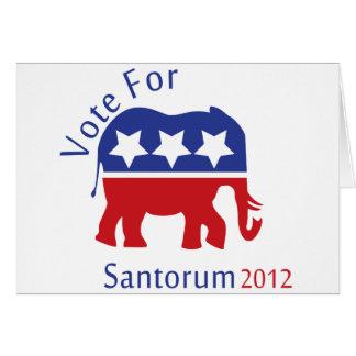 Vote for Rick Santorum for President 2012 Card