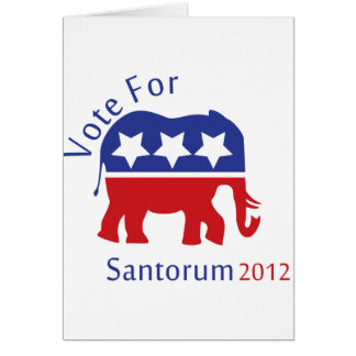 Vote for Rick Santorum for President 2012 Card