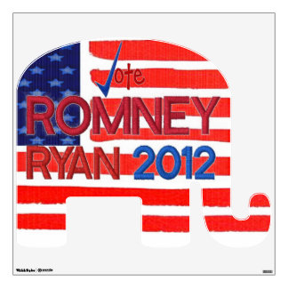 Vote for Romney Ryan 2012 GOP Elephant Wall Decal