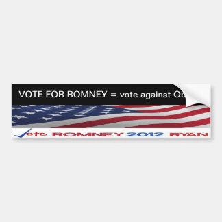 VOTE FOR ROMNEY = vote against Obama sticker Car Bumper Sticker