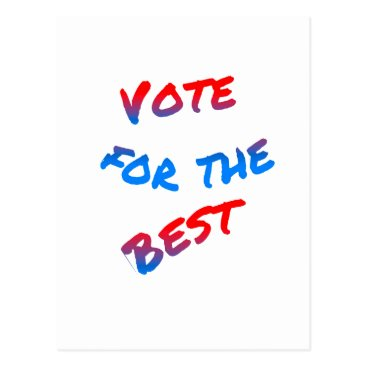 USA Themed Vote for the best, elections. Tricolor Typography Postcard