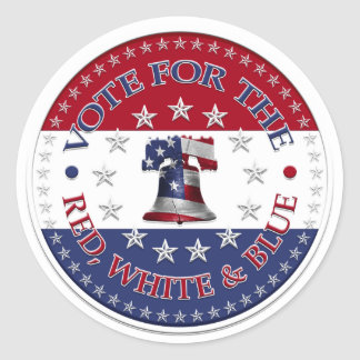 Vote for the Red, White Blue Liberty Bell 13 & 50 Classic Round Sticker