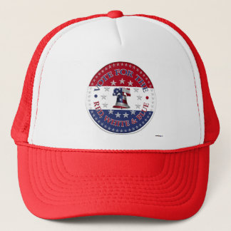 Vote for the Red, White Blue Liberty Bell 13 & 50 Trucker Hat