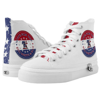 Vote for the Red, White Blue Liberty Bell and Star High-Top Sneakers