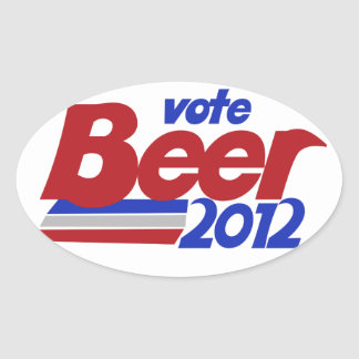 Vote fot Beer 2012 Political parody Oval Sticker