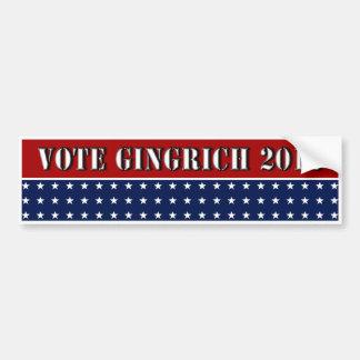 Vote Gingrich 2012 - Newt Gingrich bumper sticker Car Bumper Sticker