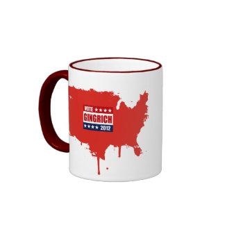VOTE GINGRICH 2012 - RINGER COFFEE MUG