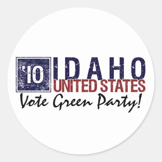 Vote Green Party in 2010 – Vintage Idaho Classic Round Sticker