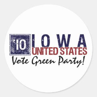 Vote Green Party in 2010 – Vintage Iowa Round Stickers