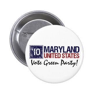 Vote Green Party in 2010 – Vintage Maryland 2 Inch Round Button