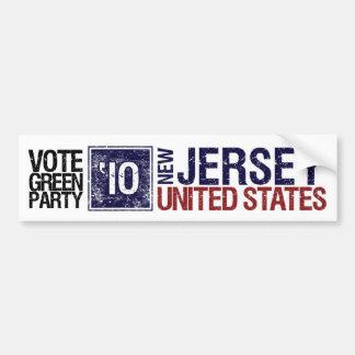 Vote Green Party in 2010 – Vintage New Jersey Bumper Sticker