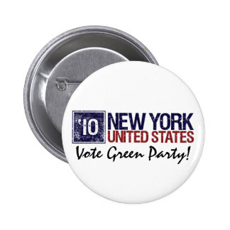 Vote Green Party in 2010 – Vintage New York Pinback Button