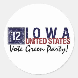 Vote Green Party in 2012 – Vintage Iowa Round Stickers