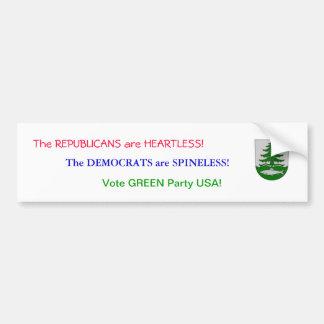 Vote Green Party USA Car Bumper Sticker