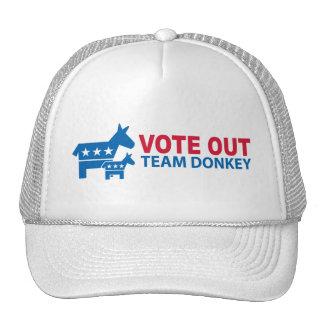 Vote hacia fuera el burro del equipo gorros bordados