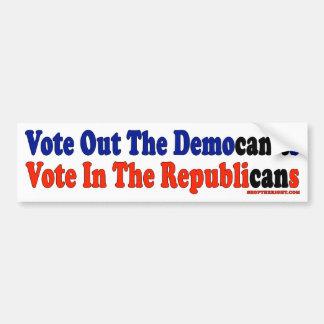 Vote hacia fuera el voto de Democan't en republica Pegatina Para Auto