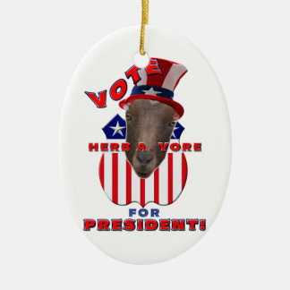 VOTE HERB A VORE FOR PRESIDENT GOAT XMAS ORNAMENT