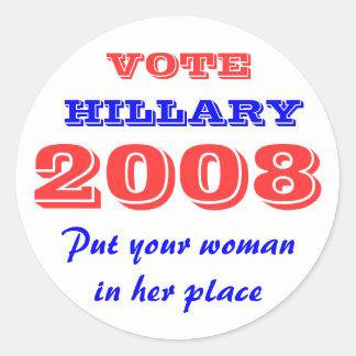 Vote Hillary 2008 Sticker - Put your woman