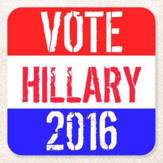 Vote Hillary 2016 Square Paper Coaster