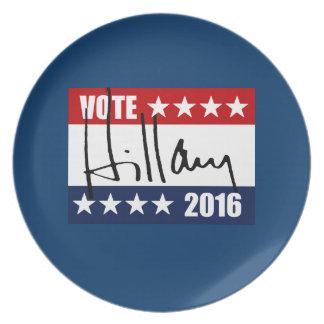 VOTE HILLARY CLINTON 2016 DINNER PLATES