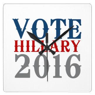VOTE HILLARY CLINTON 2016 VINTAGE SQUARE WALLCLOCKS