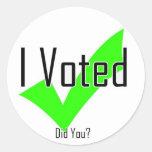 Voté. ¿Hizo usted? Etiquetas Redondas