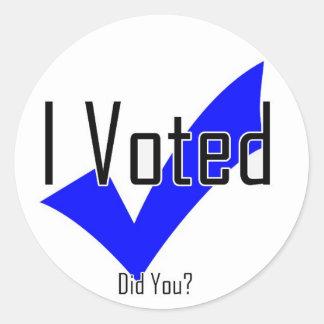 Voté. ¿Hizo usted? Pegatina Redonda