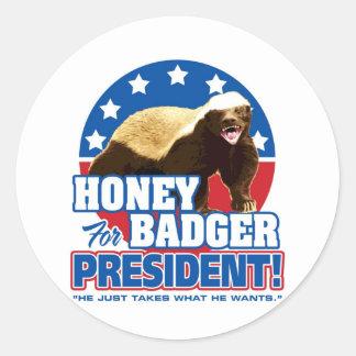 Vote Honey Badger For President Classic Round Sticker