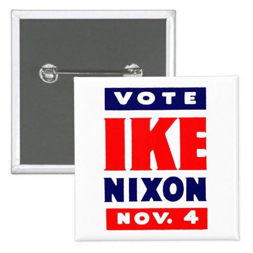 Vote Ike, Nixon in 1952 Pinback Buttons