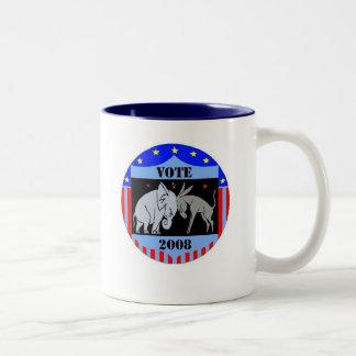 VOTE IN 2008 COFFEE MUG REPUBLICAN DEMOCRAT
