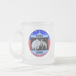VOTE IN 2008 FROSTED COFFEE MUG REPUBLICAN DEMOCRA