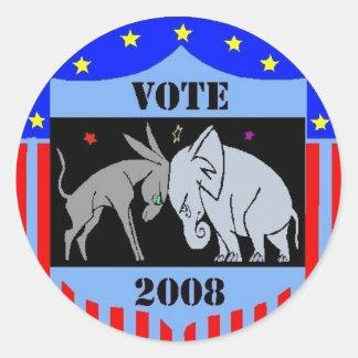 VOTE IN 2008 STICKERS DEMOCRAT REPUBLICAN POLITICS