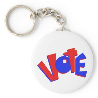 VOTE in red and blue text bouncy election swag keychain