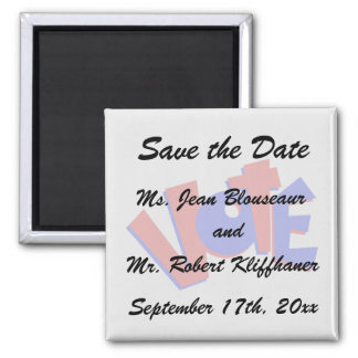 VOTE in red and blue text bouncy election swag Fridge Magnet