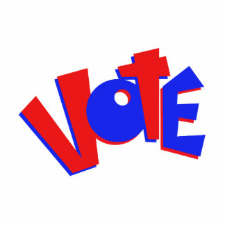 VOTE in red and blue text bouncy election swag Acrylic Cut Out