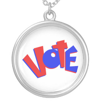VOTE in red and blue text bouncy election swag Round Pendant Necklace