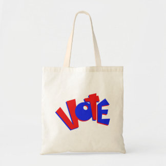 VOTE in red and blue text bouncy election swag Tote Bag