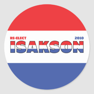 Vote Isakson 2010 Elections Red White and Blue Classic Round Sticker