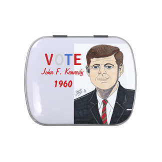 VOTE John F. Kennedy - Button Jelly Belly Candy Tin