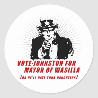 Vote Johnston for Mayor of Wasilla Stickers