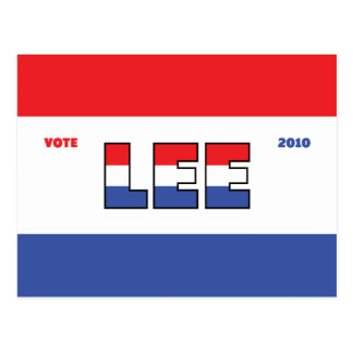 Vote Lee 2010 Elections Red White and Blue Postcard