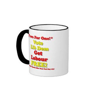 Vote Lib Dem ~ Get Labour FREE!  ~ Political U.K Ringer Mug