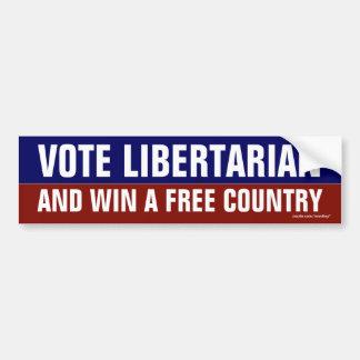 """Vote Libertarian and win a free country"" Bumper Bumper Sticker"