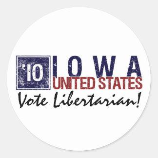 Vote Libertarian in 2010 – Vintage Iowa Round Sticker